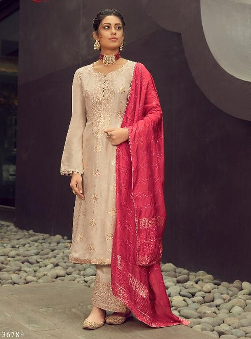 LIGHT PINK EMBROIDERED SILK JACQUARD SUIT