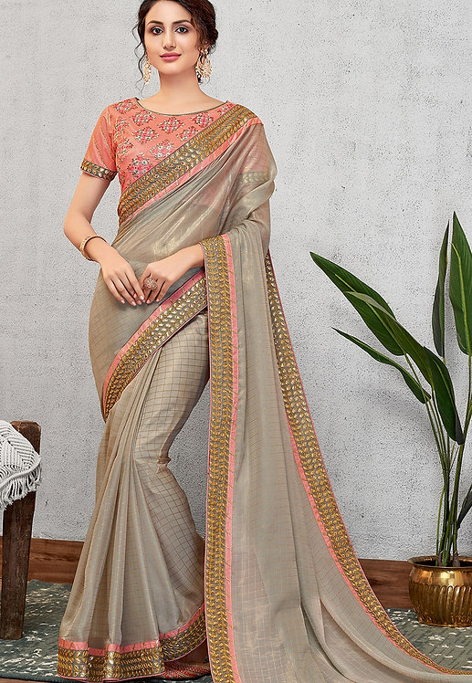 OCCASIONAL GREY SILK GEORGETTE EMBROIDERED SAREE