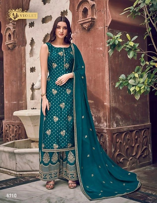 BLUE PURE DOLA JACQUARD SUIT