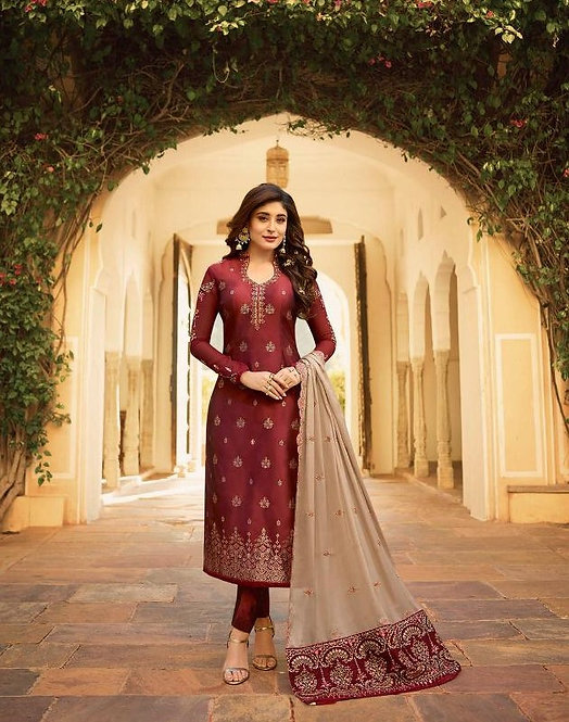 MAROON & OFF-WHITE JACQUARD SUIT WITH HEAVY DUPATTA