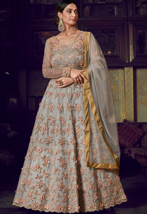 GREY NET & SILK EMBROIDERED HEAVY ANARKALI SUIT