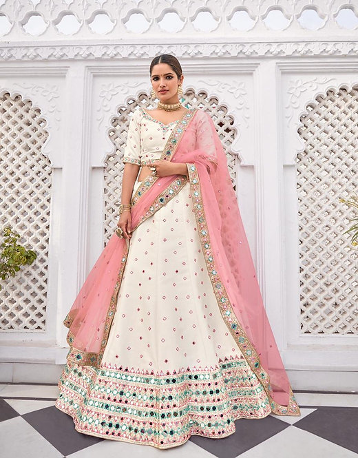 OFF WHITE HEAVY SEQUENCE EMBROIDERED MIRROR SILK LEHENGA