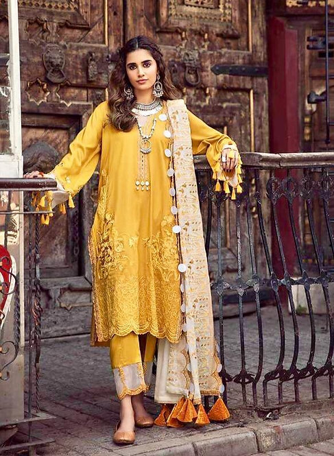 MUSTARD EMBROIDERED LINEN PAKISTANI SALWAR SUIT