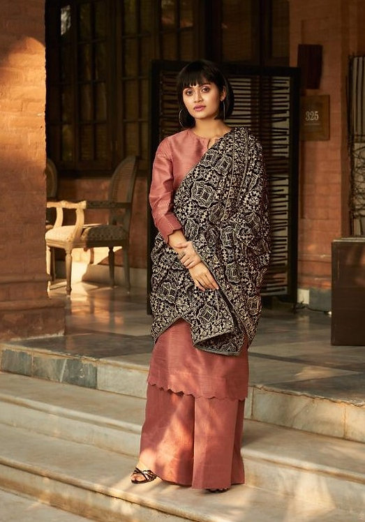 MUTED PEACH ART SILK SALWAR SUIT WITH VELVET SHAWL