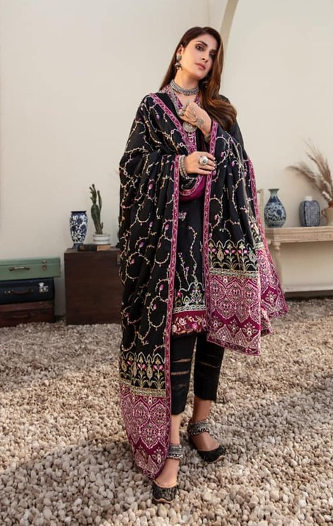 BLACK EMBROIDERED JACQUARD LINEN WINTER SUIT
