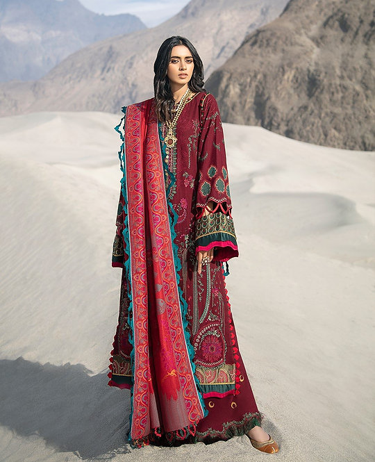 SCARLET RED EMBROIDERED KHADDAR SUIT