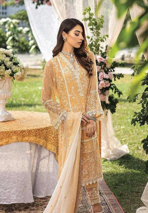 MUSTARD EMBROIDERED CHIFFON PAKISTANI SALWAR SUIT