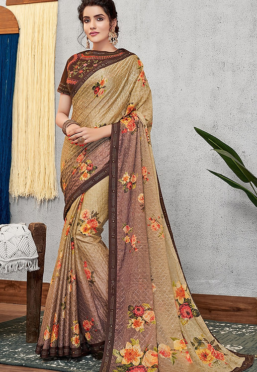 EVENING BROWN SILK GEORGETTE PRINTED EMBROIDERED SAREE