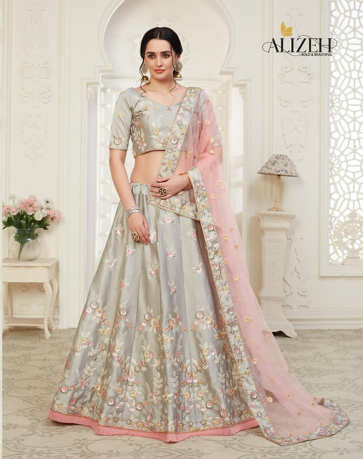 GREY EMBROIDERED MULBERRY SILK LEHENGA