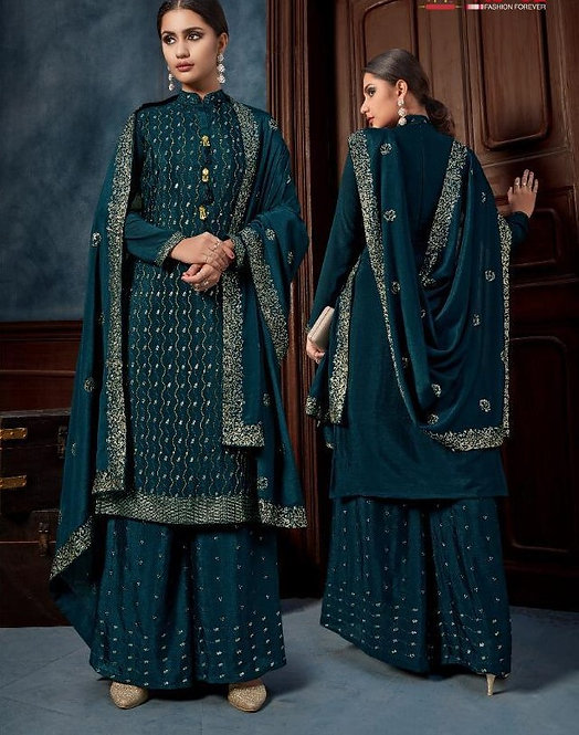 BLUE HEAVY CHINNON SEQUINS HAND WORK SUIT