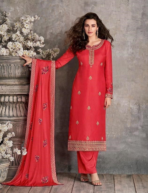 RED EMBROIDERED TUSSER SILK SUIT