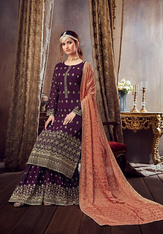 DARK PURPLE GEORGETTE EMBROIDERED PARTY WEAR SUIT