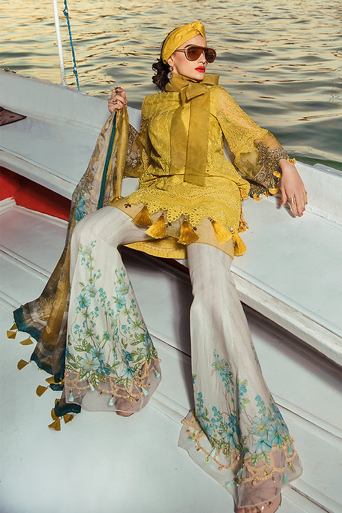 MUSTARD EMBROIDERED CHIFFON LAWN SUIT