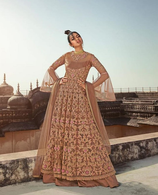 BEIGE NET EMBROIDERED LEHENGA AND PANT STYLE SUIT