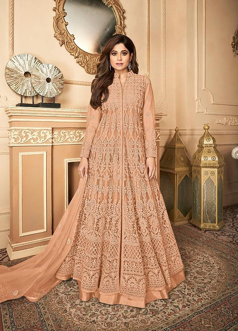 PEACH EMBROIDERED PREMIUM NET ANARKALI SUIT