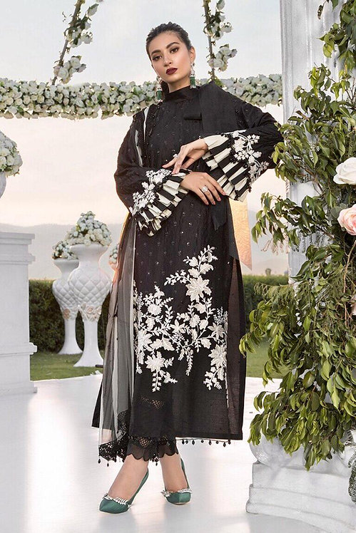 BLACK EMBROIDERED COTTON SATIN SUIT