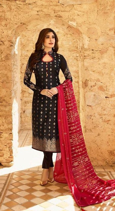 BLACK & RED JACQUARD SUIT WITH HEAVY DUPATTA