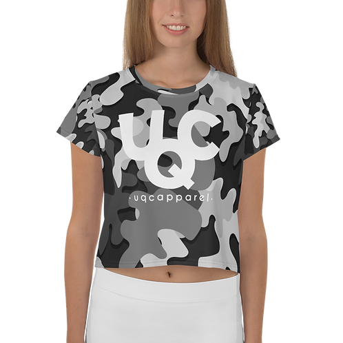 UQC Blk X Wht Ink Camo Ladies Crop Top