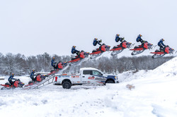 SNOWMOBILE JUMPS LOADING RAMP!