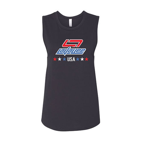 New LaVallee Ladies USA 2021 Flowy Muscle Tank