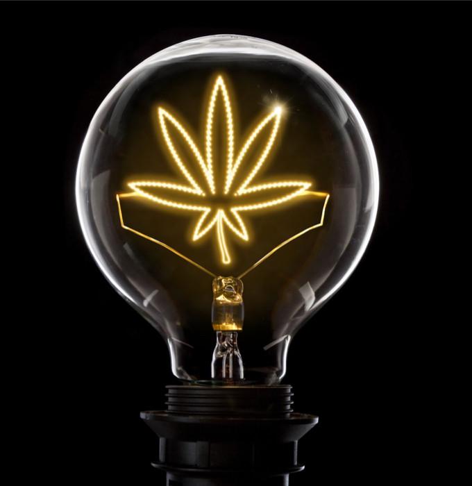 Lightbulb with cannabis leaf inside signaling a good idea like Nevada recreational cannabis