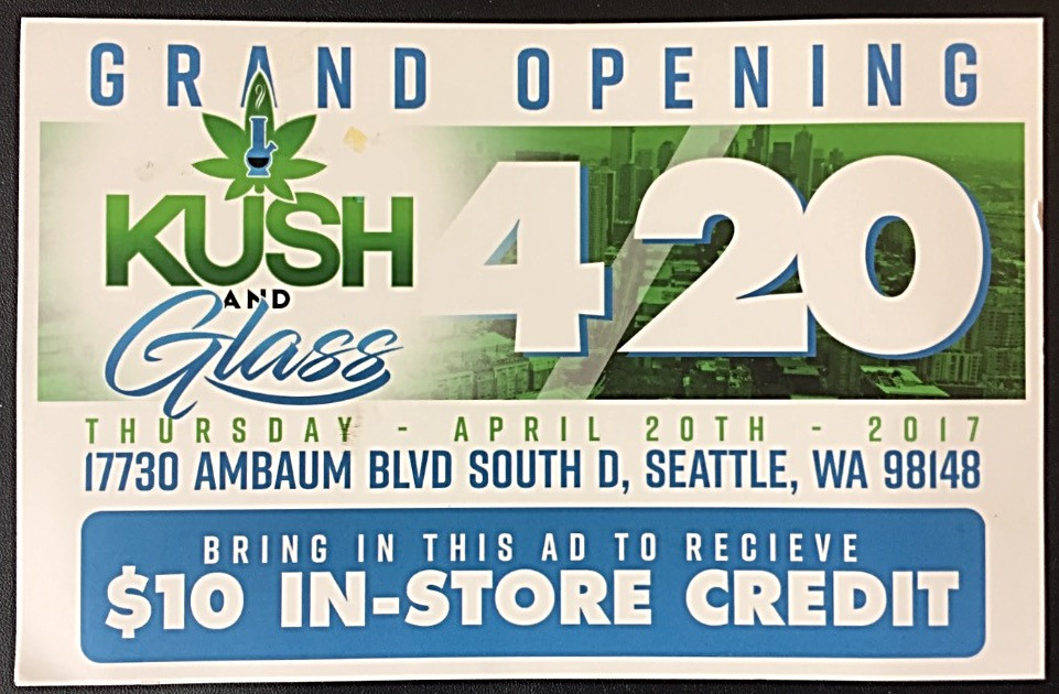 Post card promoting Washington cannabis dispensary with in-store credit offer written by someone smoking too much weed