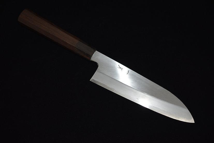 Hitohira Kikuchiyo Kyuzo Shirogami # 2 Migaki Santoku 180mm Tagayasan wood
