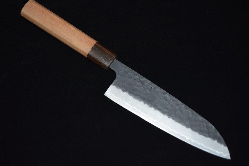 Hitohira Futana SB Kuro Tsuchime Santoku 170mm Bois de Cerisier