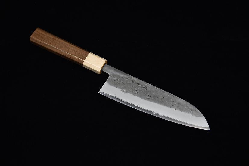 Hitohira TD Aogami #2 Stainless Clad Nashiji Santoku 165mm Bois de Noyer