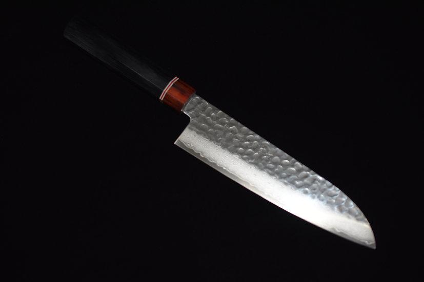 Hitohira Imojiya ST Tsuchime Damascus Santoku 180mm Bois de Pakka