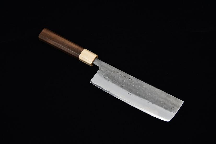 Hitohira TD Aogami #2 Stainless Clad Nashiji Nakiri 165mm Bois de Noyer