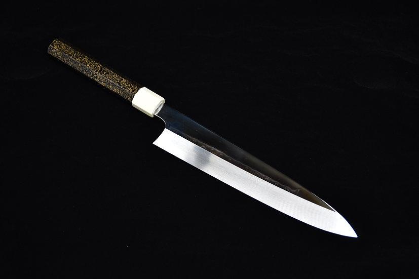 Hitohira Kikuchiyo Kambei Mizu Honyaki Shirogami # 2 Gyuto 240mm Lacquered Wood