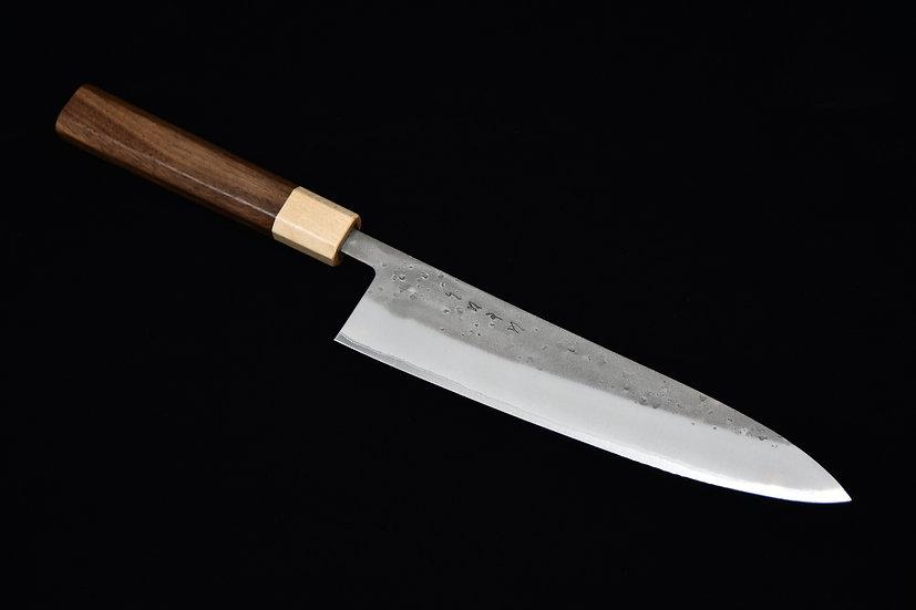 Hitohira TD Aogami #2 Stainless Clad Nashiji Gyuto 210mm Bois de Noyer