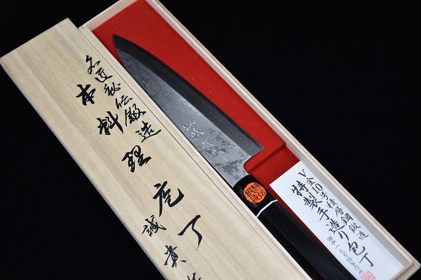 Shigeki Tanaka Damascus Mioroshi Deba 210mm Ebony wood