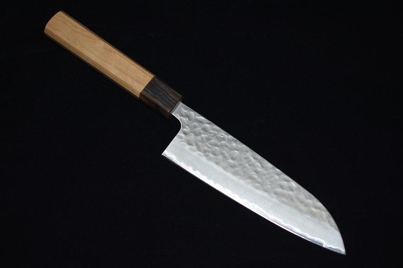 Hitohira Futana SB Migaki Tsuchime Santoku 170mm Cherry Wood