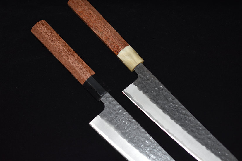 Hitohira Futana SB Kuro Tsuchime Gyuto 210mm Silky Oak Wood
