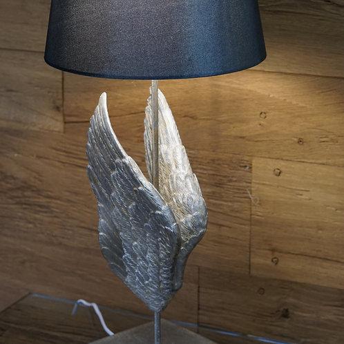 Tischleuchte mit Flügel in Silber/Grau