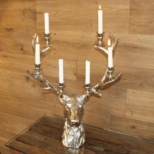 handgefertigter Kerzenleuchter Hirschkopf Aluminium