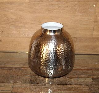 Dekorative Vase aus Metall in mattem Silber handgefertigt