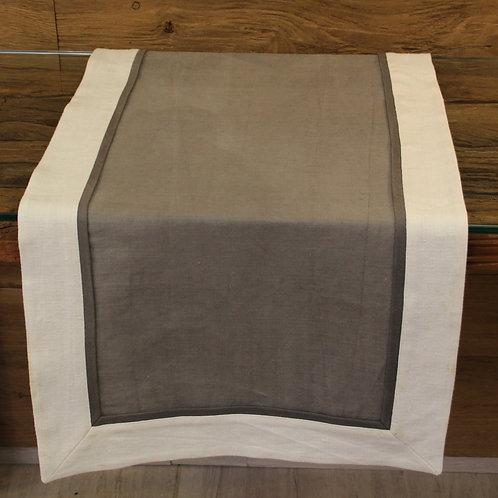 Tischläufer aus handgewebtem Naturleinen in Grau 3-farbig