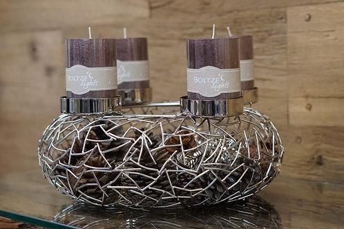 Kerzenständer aus Metall in Silber, handgefertigt