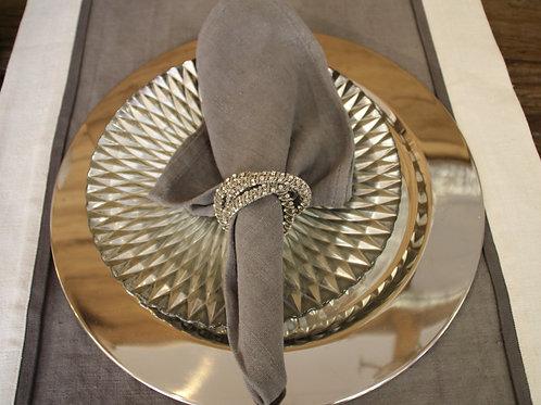 Serviettenring aus 3 Ringe in Silber mit kleinen Strass