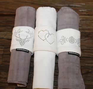 Mundserviette aus handgewebten Naturleinen in verschiedenen Farben