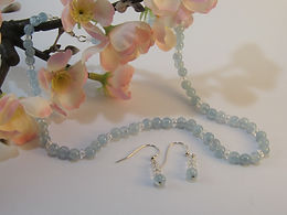 Aquamarine and lustre bead necklace and earrings set