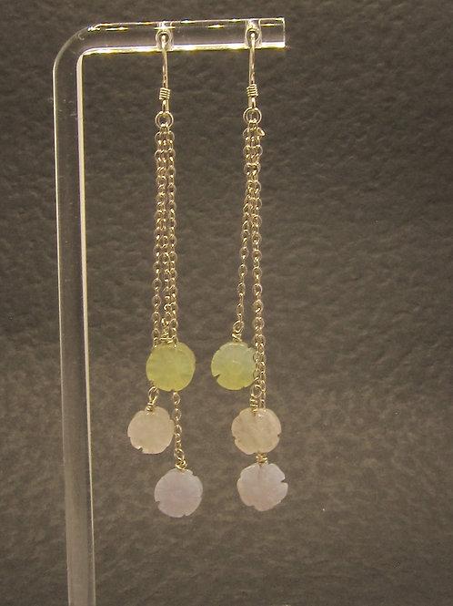 Gemstone flower triple drop earrings with silver