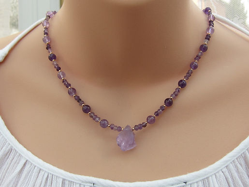 Amethyst and rose gold plated silver necklace