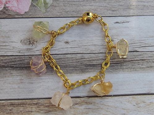 Rough gemstone chunk bracelet