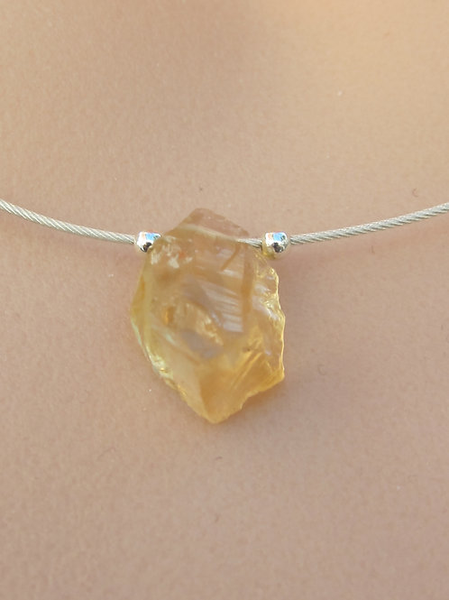 Citrine nugget and silver necklace