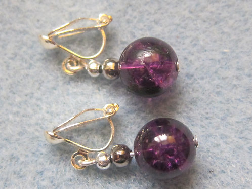 Purple crackled glass clip on earrings