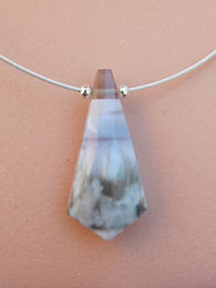 Blue toned boulder opal and silver necklace